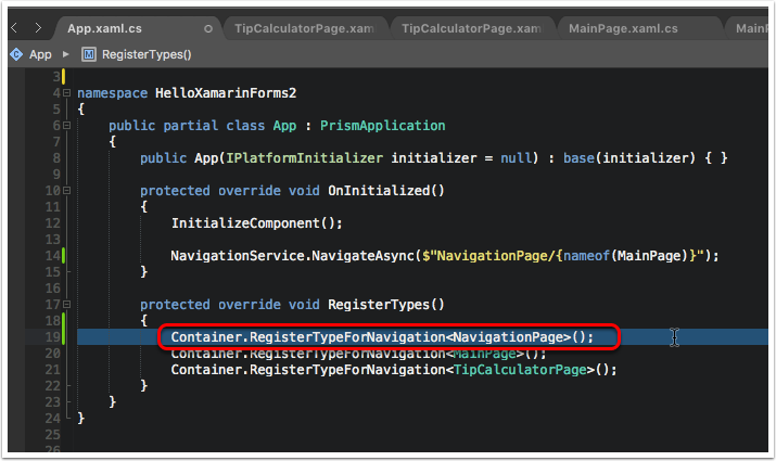 Register NavigationPage in App.RegisterTypes Method