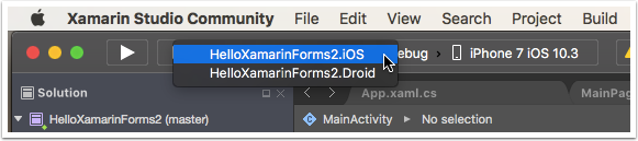 Select the iOS Project to Run