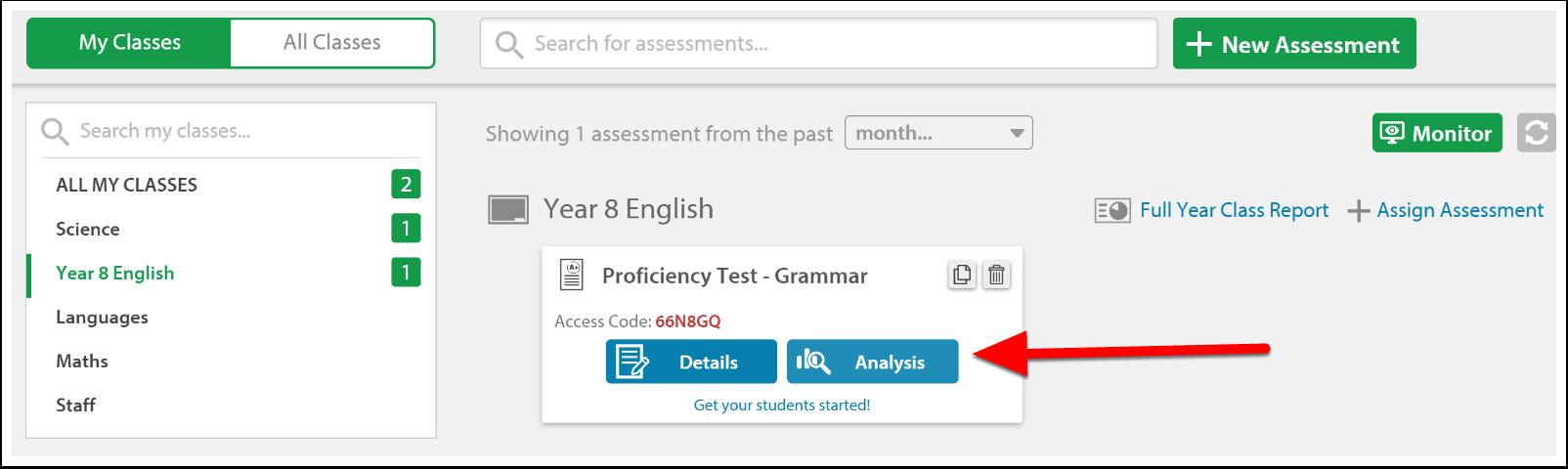 Select 'Analysis'.