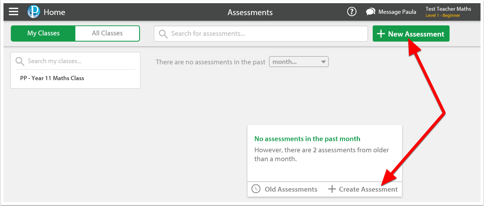 Select the 'New Assessment' button.