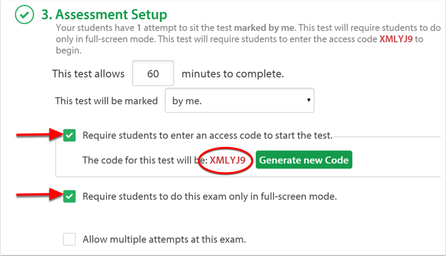 Assessment Setup Code.