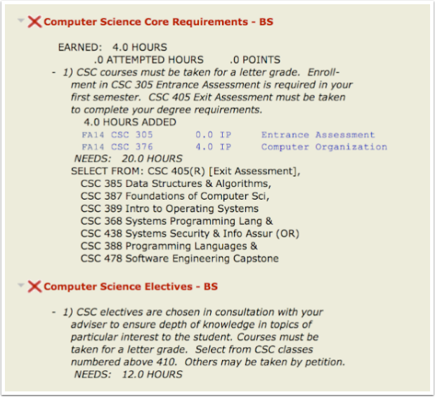 Computer Science requirements