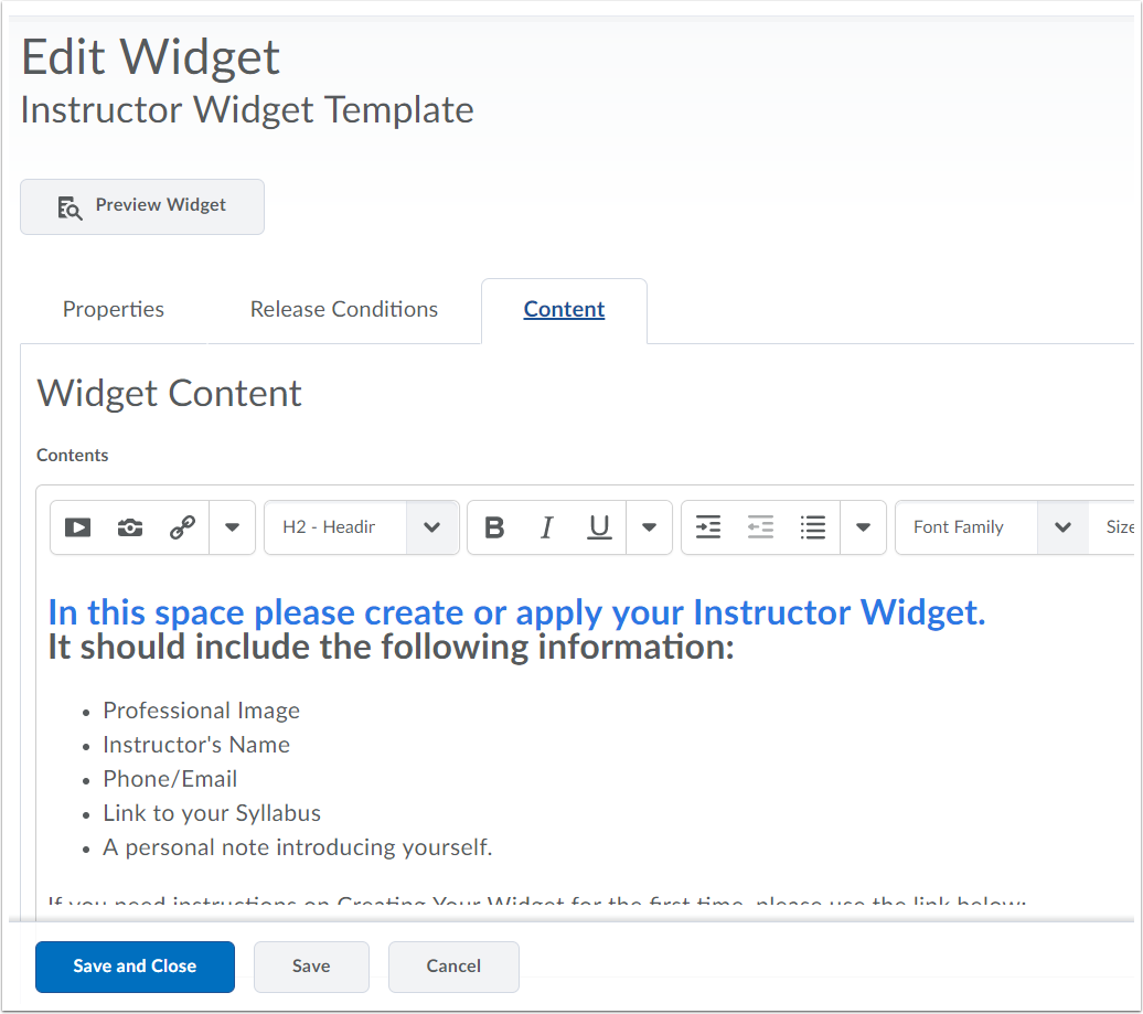 "3. Click ""Content"" and fill out information."