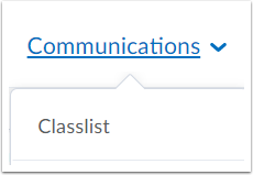 "1. Select ""Communications"", followed by ""Classlist""."