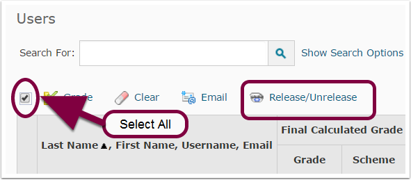 "4. Select all students, and then click ""Release/Unrelease""."