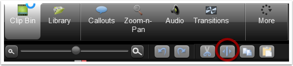 "5. Begin trimming your video by using the ""split"" button."