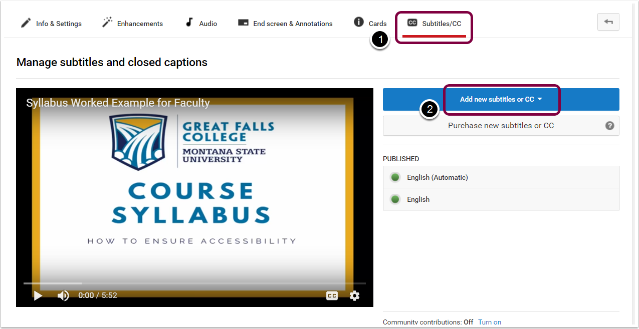 "5. Select ""Subtitles/CC"", and then ""Add new subtitles or CC""."