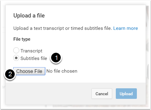 "7. Select ""Subtitles File"", and then ""Choose File."""