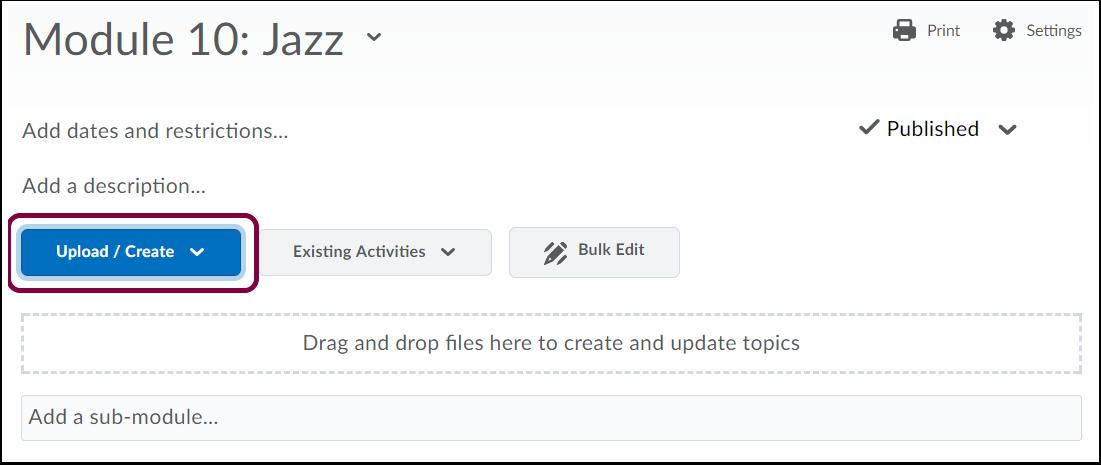 "2. Click ""Upload/Create""."