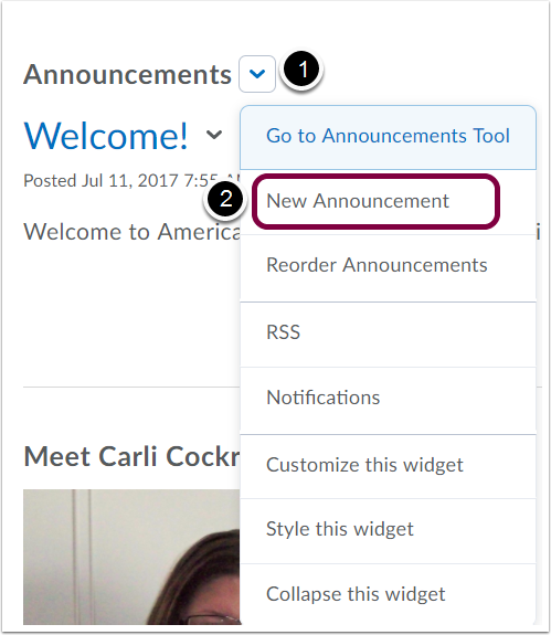 "1. Click ""New Announcement"" from Drop-Down Menu in Announcement Widget."