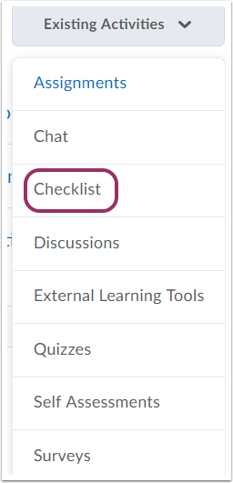 "2. Select ""Checklist"" and choose the correct checklist."