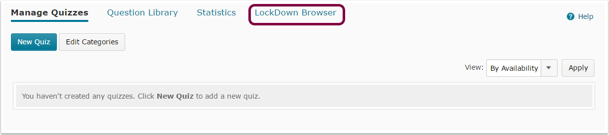 "1. From Quizzes, select ""New Quiz"" or edit a quiz you have already saved, and then select the tab ""Lockdown Browser""."