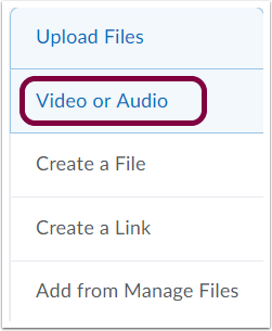 "2. Select ""Video or Audio"" from the dropdown menu."