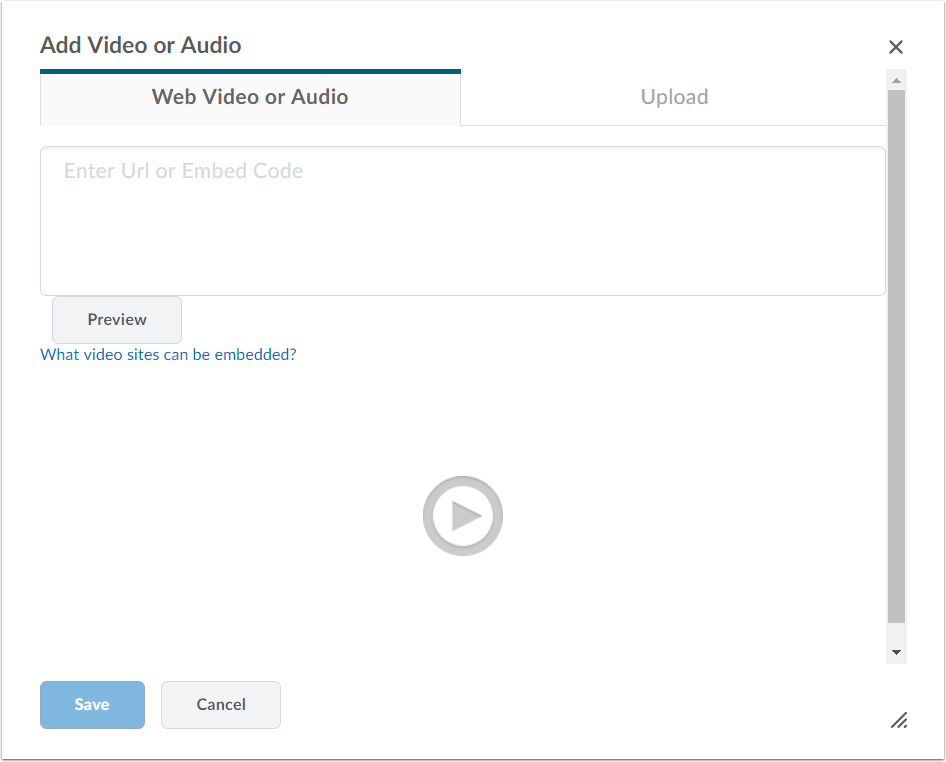 3. You can upload a file, embed a file, or simply link to the URL.