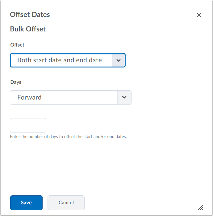 "4. Offset dates: Select ""Offset Dates"" if you would like to move the items forward/backward a specific number of days."