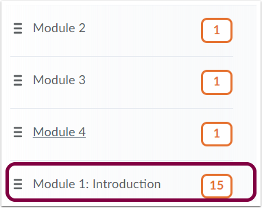 1. From the content area, select the topic, submodule, or module you need to move.