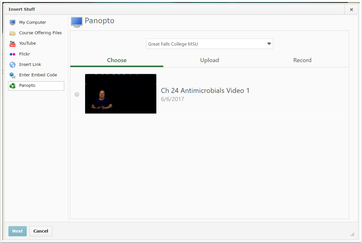 4. Choose a video you have access to, upload, or record.