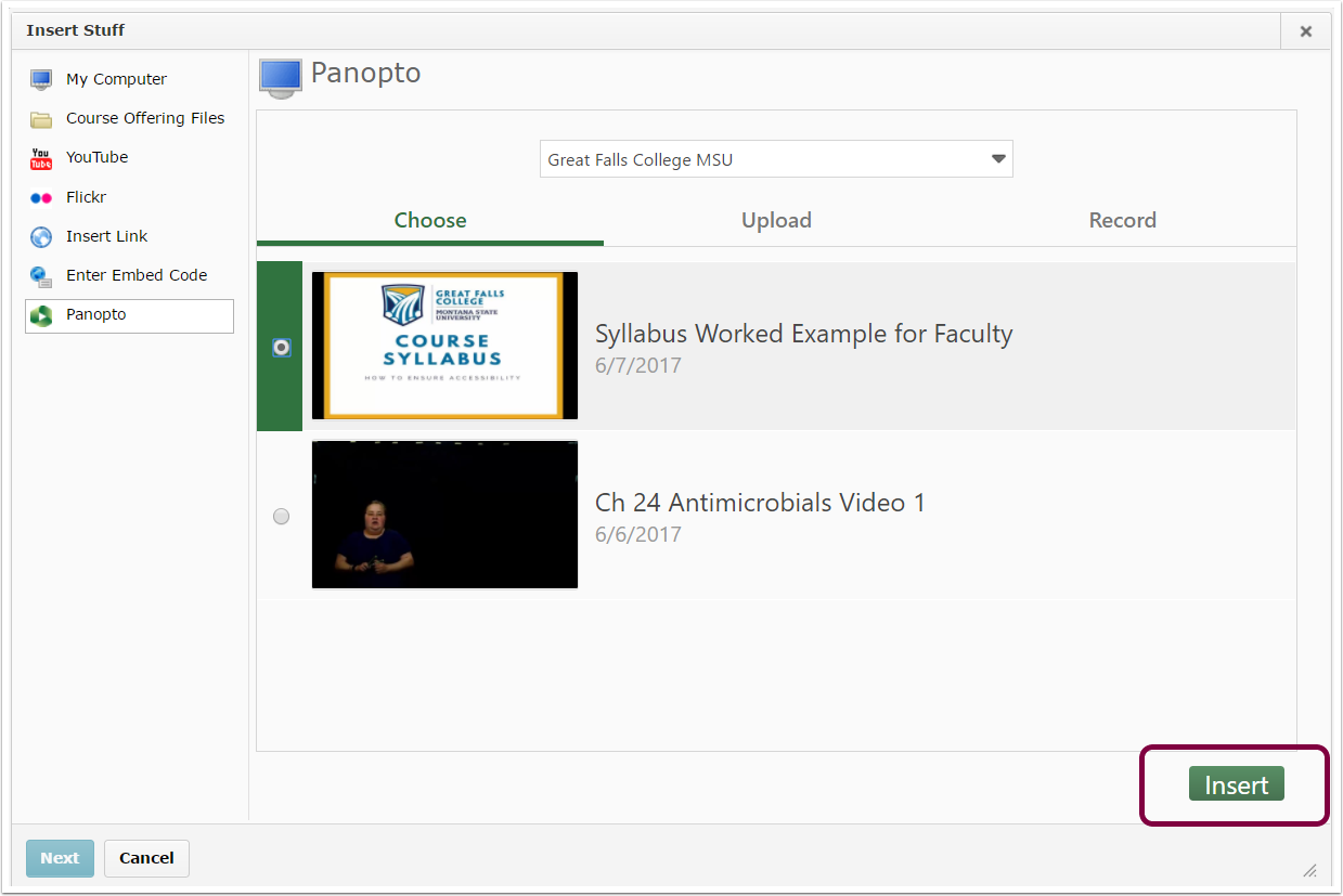 "5. Click ""Insert"" to embed the video into your D2L course."