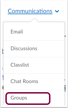 "1. Select ""Groups"" from the Communications dropdown."