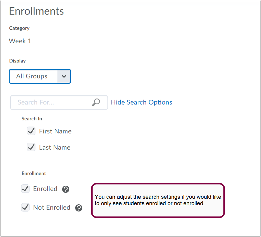 10.  Choose students to enroll in each of your groups.