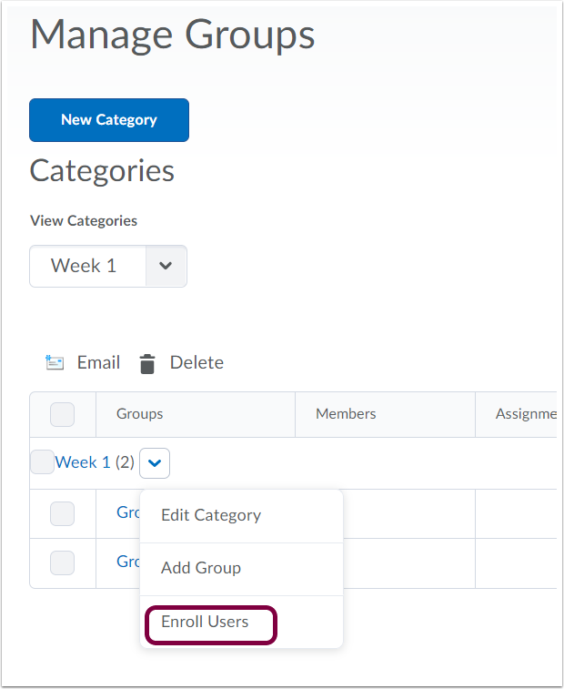 "9. Use dropdown next to group category and select ""Enroll Users""."