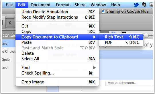 Copy RTF to email or word processing documents