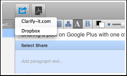 Share your document via Dropbox or Clarify-it.com