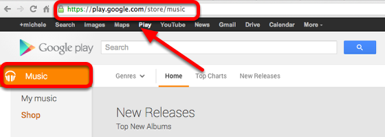 Purchase music from the Google Play Store