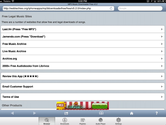 Download music using an app on your iPad: mp3 Music Downloader