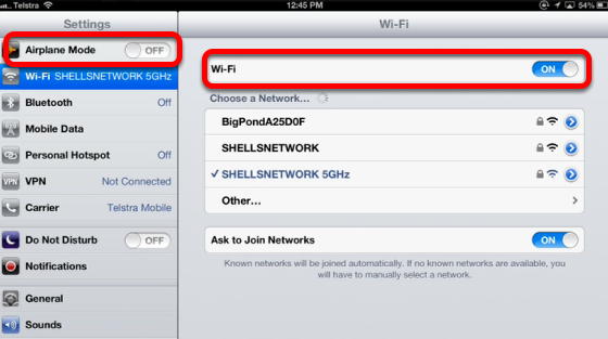 Turning on the WiFi or wireless network