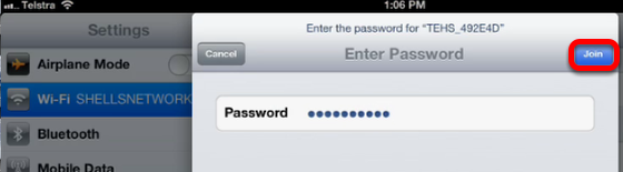 Entering a password to join an encrypted network