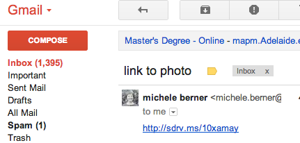 Emailing the link