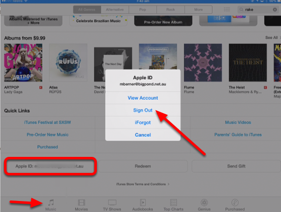 Changing to a different iTunes store on the iPad