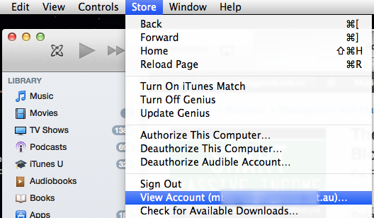 Logout of your current iTunes account