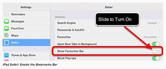 Enable the Favourites Bar