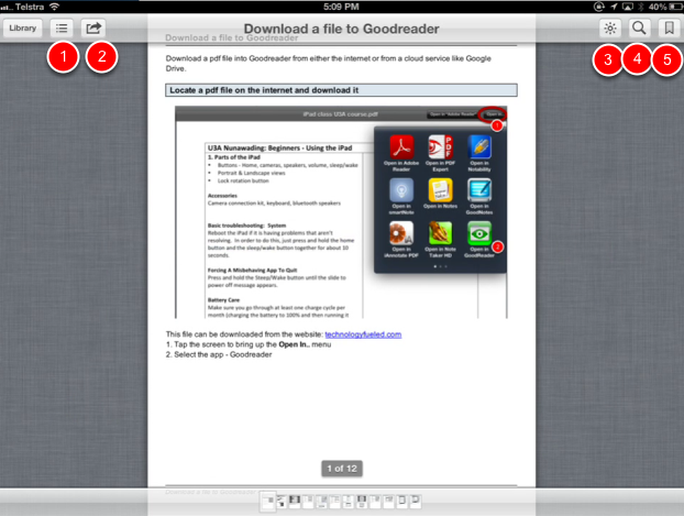 Reading the pdf in iBooks