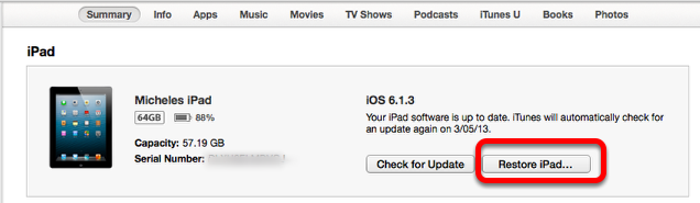 Restoring the iPad to its Factory Defaults