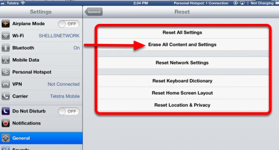 Reset your ipad to factory settings using the iPad