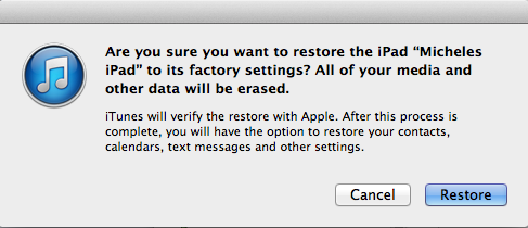 Restoring your data after a reset with iTunes