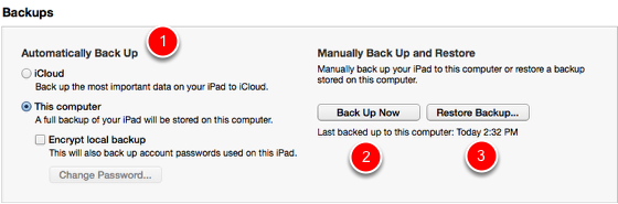 Backing up using iTunes