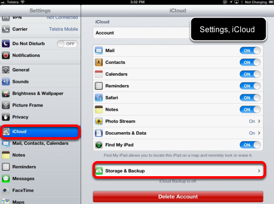 Backing up your iPad with iCloud