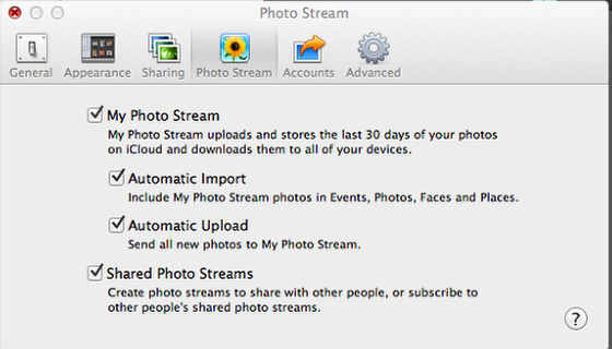 Setup Photostream in iPhoto on a MAC