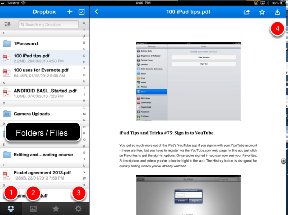 Dropbox using the Dropbox app on the iPad