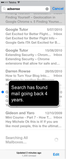 The Mail app - Searching for mail