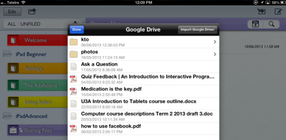 Example: Import a .pdf document from Google Drive