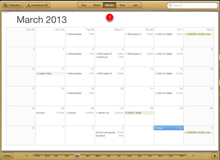 Using the calendar - different views