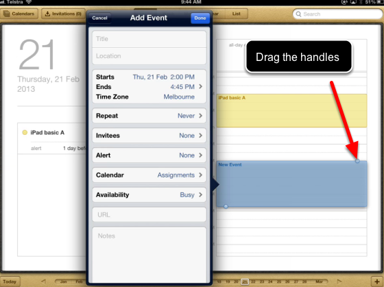 Drag to create events