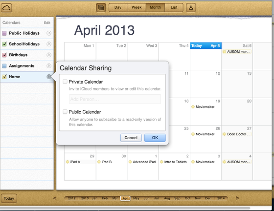 Manage your calendars using iCloud