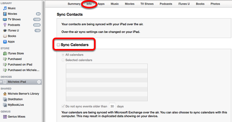 Synchronising your calendar with iTunes
