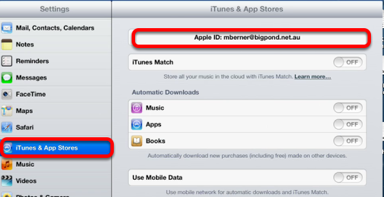iTunes & App Store in Settings on the iPad